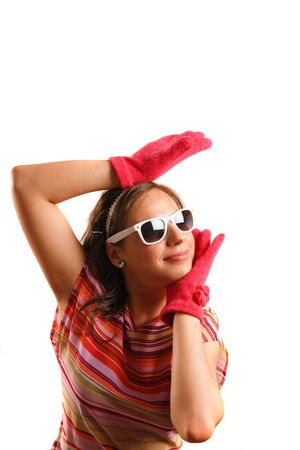 Modern looking young woman wearing sun glasses