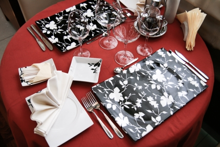 Table set for meal in modern restaurant