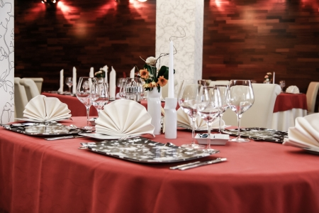 dinning table: Table set for meal in modern restaurant