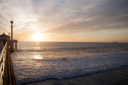 Surfers in the sunset, Pacific ocean beach, Los Angeles