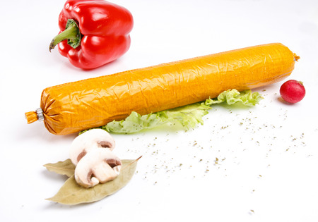 Salami with vegetables Stock Photo