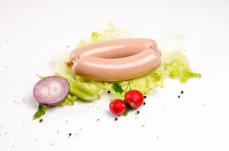 Sausages with fresh vegetables