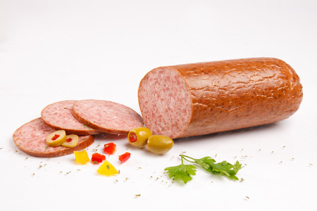 Chopped salami with vegetables Stock Photo