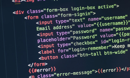 frontend: Code syntax on a computer screen