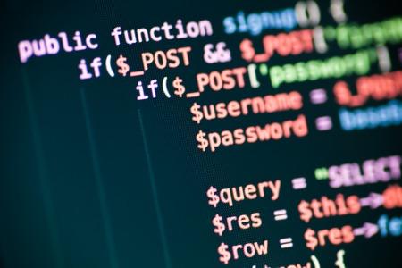 PHP code lijnen op een monitor Stockfoto - 46610722