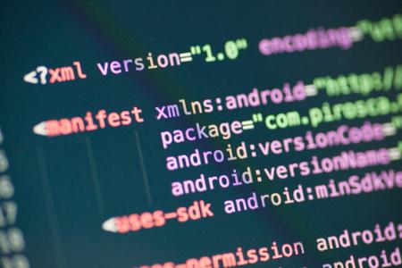 XML code lines on a display