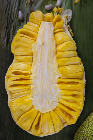 Jackfruit cut into halves on Carbon Market Cebu City Philippines Stock Photo