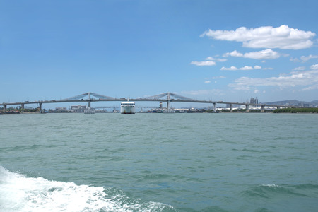 2 Mactan bridges open sea view on a summer day in noon time Banco de Imagens