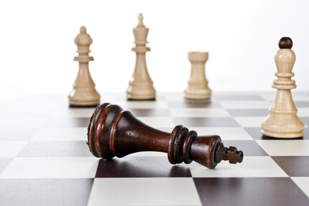 chess board: Chess board with chess pieces, close up Stock Photo
