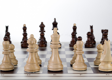 Chess board with chess pieces, close up Stock Photo