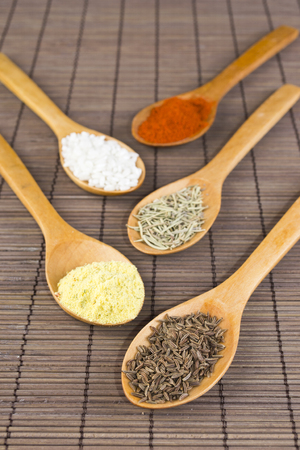 various spices in wooden spoons, close up Stock Photo