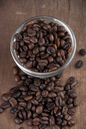 coffee beans on old wooden able