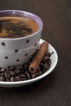coffee cup on wooden table, close up photo Stock Photo