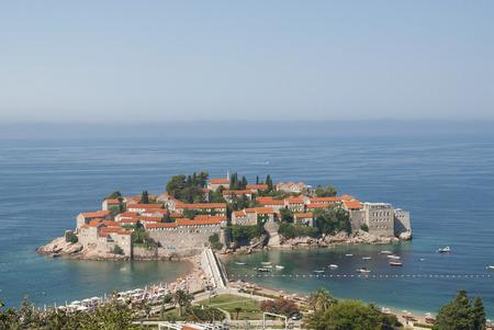 island town St.Stephan in adriatic sea, Montenegro, landscape photo