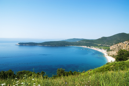 Panorama beautiful beach Jaz in Montenegro, Mediterranean,  Stock Photo