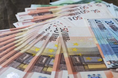 Euro banknotes background. Close up image