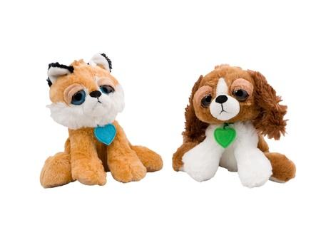 Isolated plush toy dog and cat on white background Stock Photo