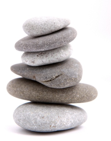 Balancing stones isolated on a white
