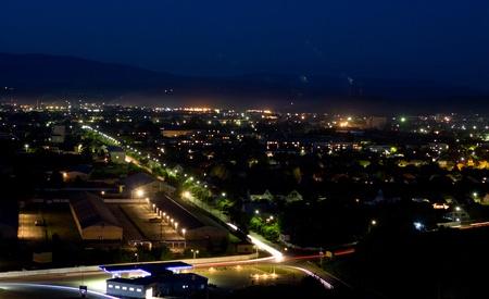 Night panoramic view of Mukachevo city. Ukraine Stock Photo