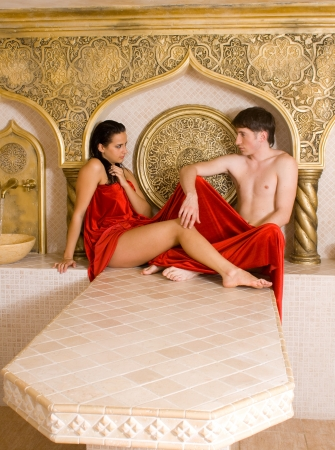 a young woman and young boy in a Turkish bath Stock Photo - 10018837