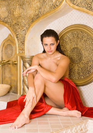 Attractive  girl in the Turkish bath photo