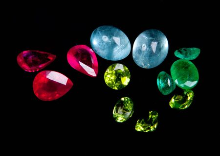 Collections of gems isolated on black background  Gemstone Stock Photo
