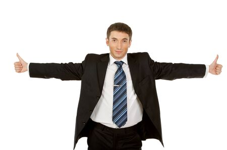 Portrait of a excited business man showing a success sign, isolated on white background. photo