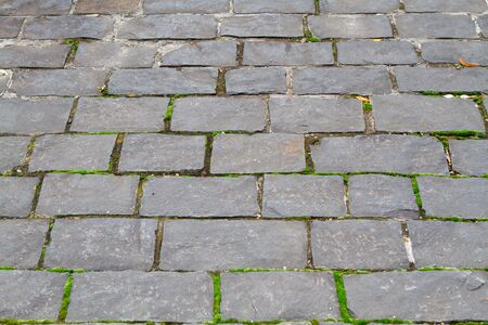 contrasty: Closeup view on a cobblestone road pattern   background contrasty due to a side sunlight