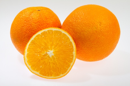 navel orange: Navel seedless orange isolated on white fresh orange isolated on white
