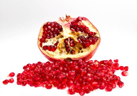 Pomegranate with seed with white background