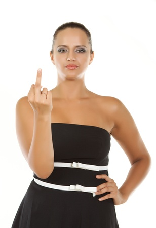 young woman showing middle finger  - isolated on white background Stock Photo