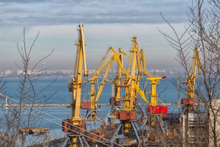 Cargo crane, ship and grain dryer in port Odessa, Ukraine photo