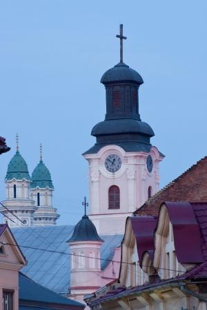 evening view of the domes of the two churches in Uzhhorod Transcarpathian Ukraine Stock Photo - 18409798