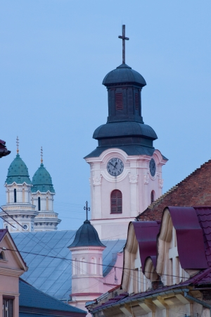 evening view of the domes of the two churches in Uzhhorod Transcarpathian Ukraine Stock Photo - 18409798