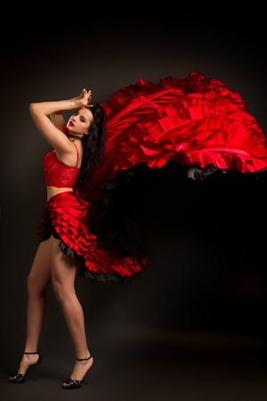 bailarina de flamenco: Close-up foto de la dama en el baile flamenco gitano traje sobre un fondo gris