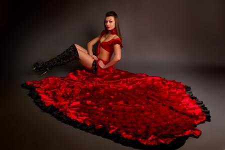 bailando flamenco: la dama en el baile flamenco gitano traje sobre un fondo gris