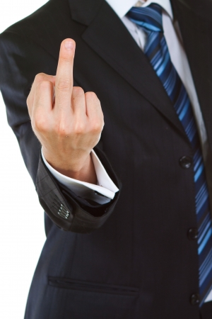 Businessman showing  gesture with white background photo