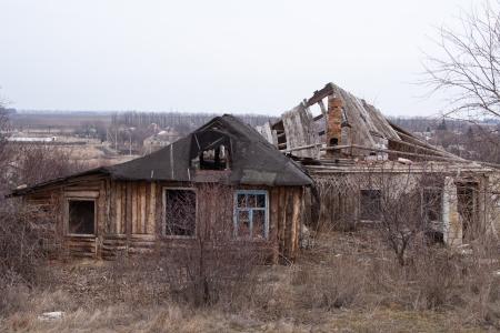 decrepit: Decrepit wooden farm house in rural Stock Photo