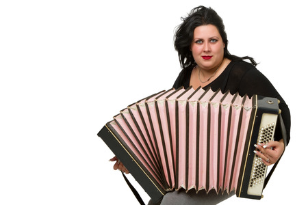 beautiful young brunette with accordion isolated on white background photo