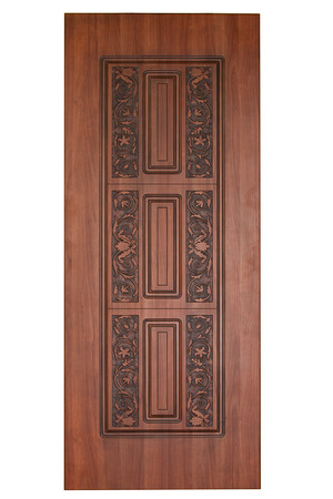 view of a wooden doorway: Frontal image of a closed door, isolated on white background.