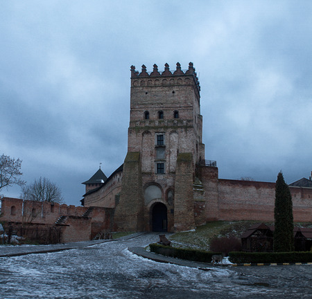 Central tower of the Old castle in town Lutsk in winter