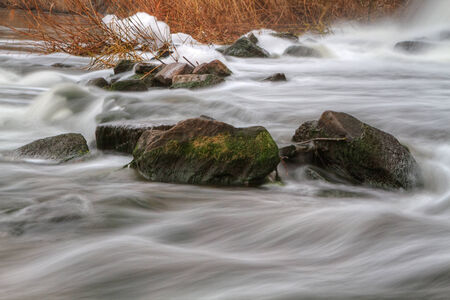 yellowautumn: Autumn  river view with waterfall on the river Kalmius located in Donetsk region