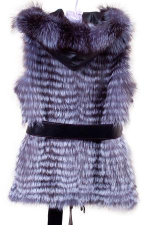 beige fur vest women isolated on white background fur vest isolated on white Stock Photo