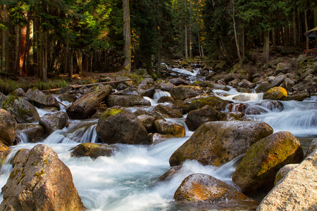cau: River Ullu-Murudzhu in Dombai,Karachai,Cau casus,Russia. Stock Photo
