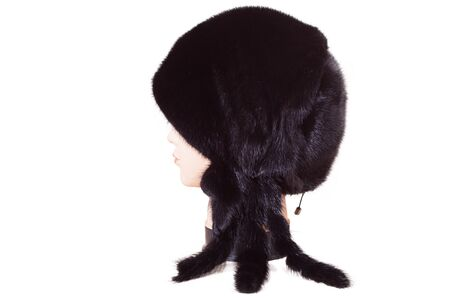 mannequin head: mannequin head wearing fur hat and collar isolated on white background