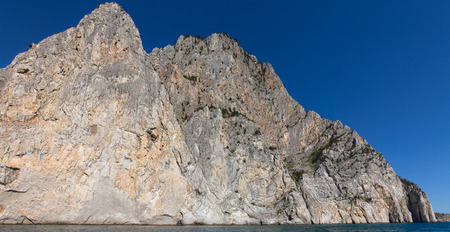 recorded: Sea landscape with rocks on shore, recorded in place Balaclava in region Crimea on Black sea.