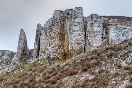 constantine: The rocky outcrop is located in the Upper Cretaceous of the Constantine region Donetsk region near the village Belokuzminovka Ukraine