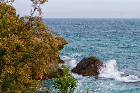 alupka: Black sea coastline before storm. Alupka,  Crimea, Russia Stock Photo
