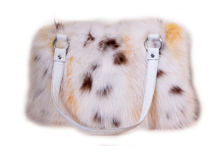vanity bag: Fur bag isolated on white background  womens bag with fur on white