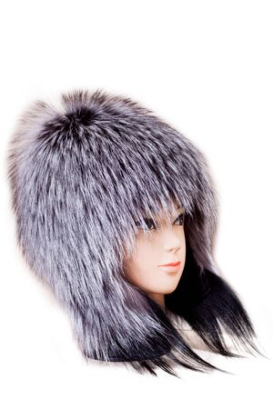 head collar: mannequin head wearing fur hat and collar isolated on white background